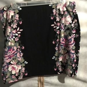Black and floral Mini skirt